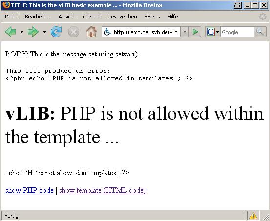 Kein PHP in einem Template